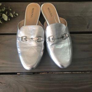 Merona metallic silver slip -ons